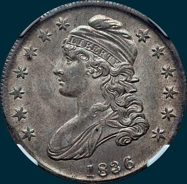 1836 o-117, capped bust half dollar