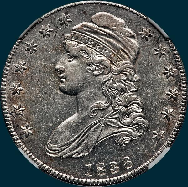 1836 o-121, capped bust half dollar