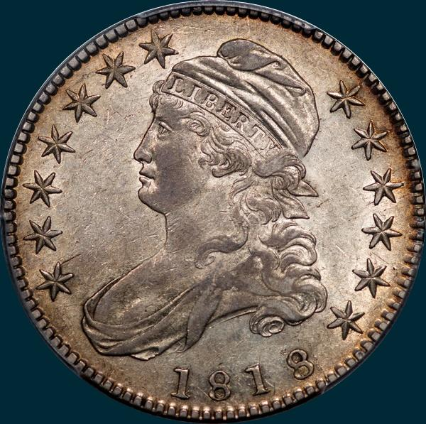 1818 O-115, capped bust half dollar