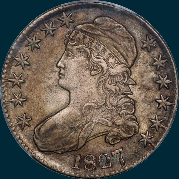 1827, O-137, R6, Square Base 2, Capped Bust, Half Dollar