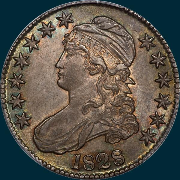 1828, O-101, Curl Base 2, No Knob, Capped Bust, Half Dollar