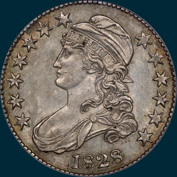 1828, O-123a, Square Base 2, Small 8's, Large Letters, Capped Bust, Half Dollar