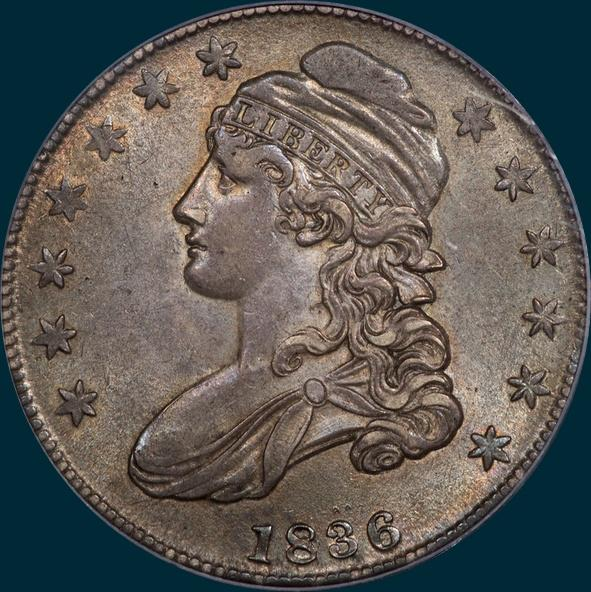 1836 o-123, capped bust half dollar