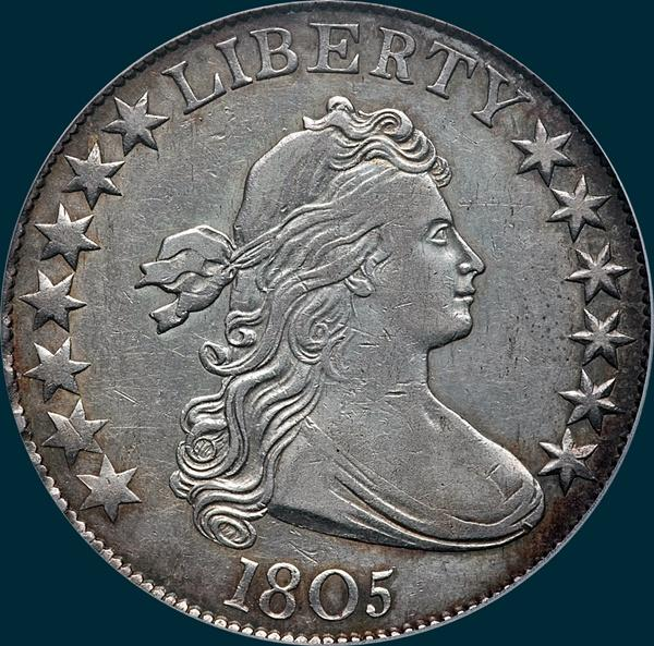 1805, O-107, Draped Bust, Half dollar