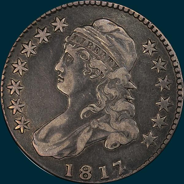 1817, O-102, 7 over 4, Capped Bust, Half Dollar