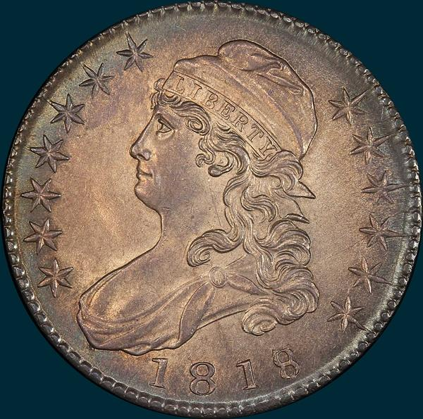 1818, O-103a, 8 over 7, Large 8, Capped Bust, Half Dollar