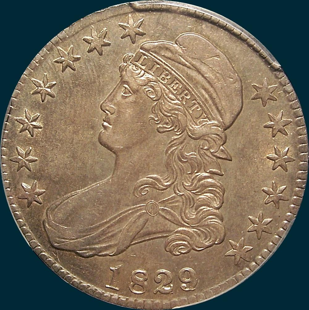 1829, 29 over 27, O-101a, Capped Bust, Half Dollar