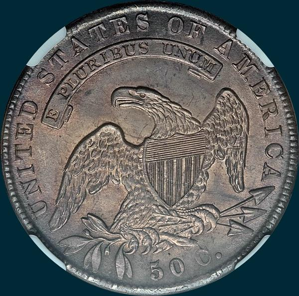 1836 o-118, capped bust half dollar