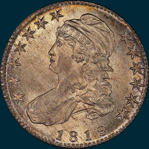 1819 O-108, capped bust, half dollar