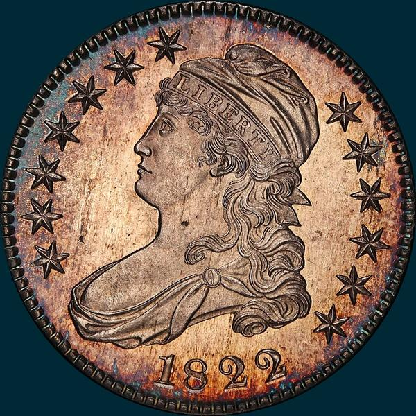 1822 O-103, capped bust, half dollar