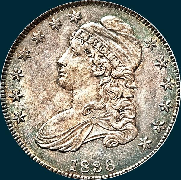 1836 o-111, capped bust half dollar