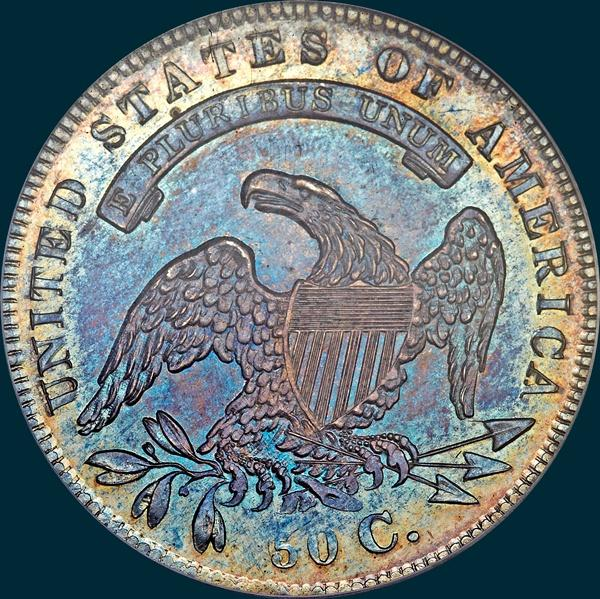 1836 o-116, 50 over 00, capped bust half dollar