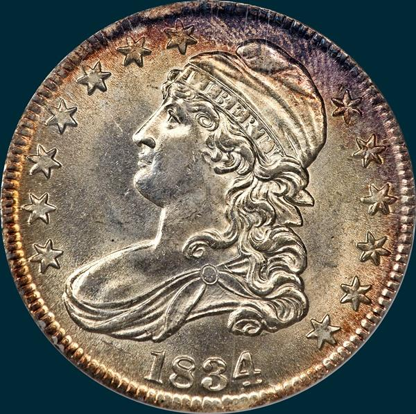 1834, O-107, Large Date, Small Letters, Capped Bust, Half Dollar