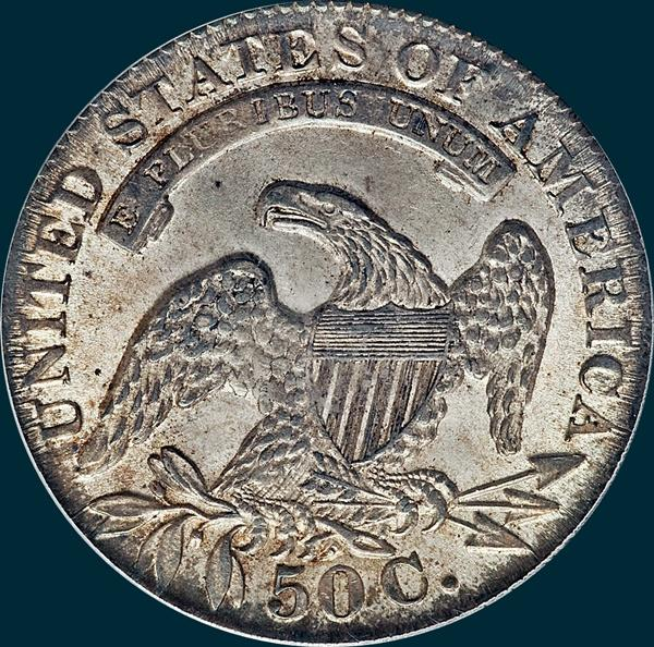1833 O-104, capped bust half dollar