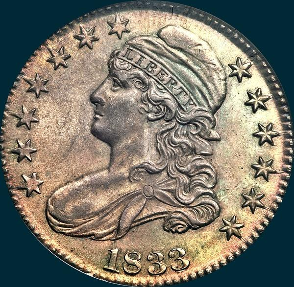 1833, O-107, Capped Bust Half Dollar