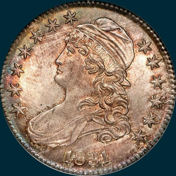 1831, O-102, Capped Bust, Half Dollar
