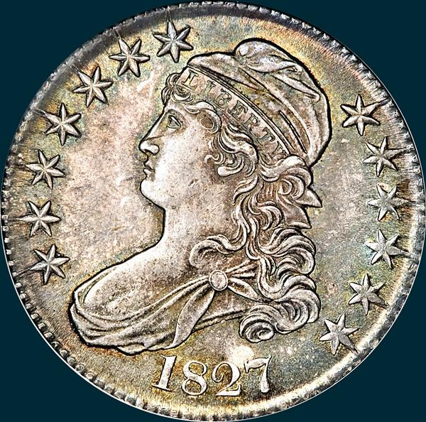 1827, O-117, R3, Square Base 2, Capped Bust, Half Dollar