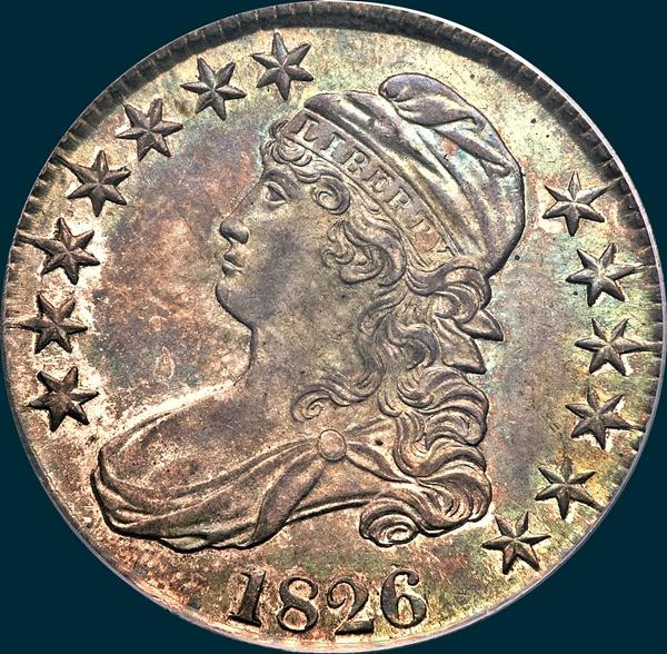 1826, O-104, Capped Bust, Half Dollar