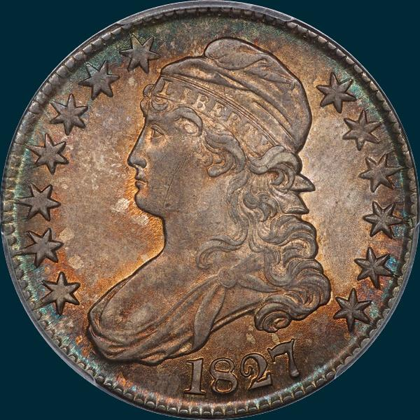 1827, O-115, R2, Square Base 2, Capped Bust, Half Dollar