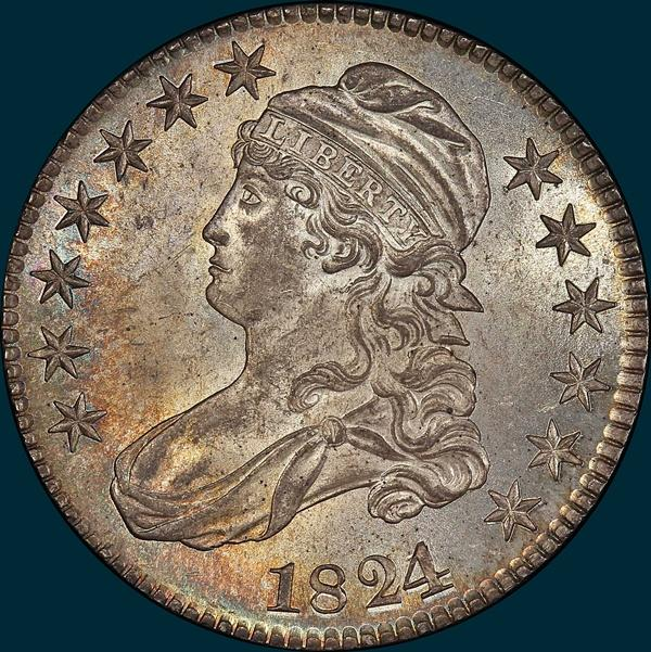1824 24/1 O-101, capped bust half dollar