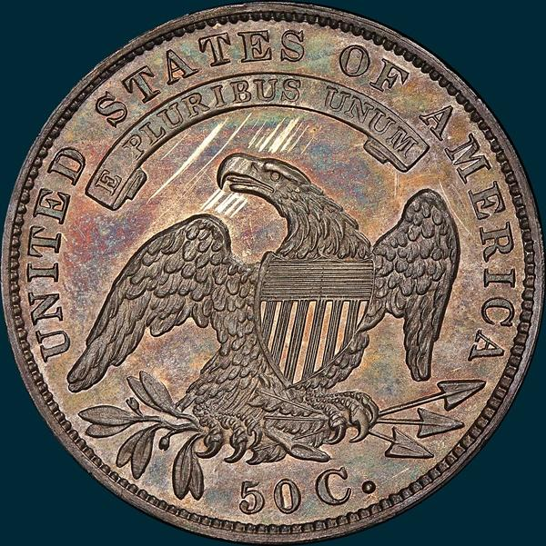 1833 O 116 R7 Crushed Letter Edge Capped Bust Half Dollar