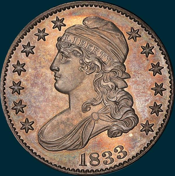 1833 O-116, crushed lettered edge,  capped bust half dollar
