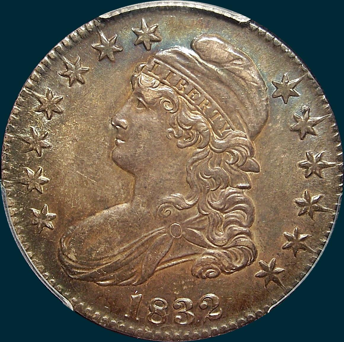 1832 O-104 capped bust half dollar