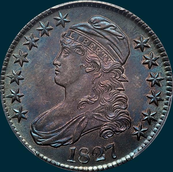 1827, O-107, R3, Square Base 2, Capped Bust, Half Dollar