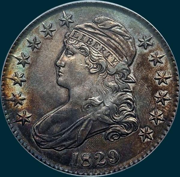 1829 O-109, capped bust half dollar
