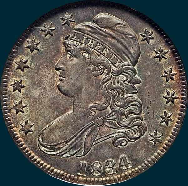 1834, O-105, Large Date, Small Letters, Capped Bust, Half Dollar