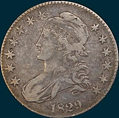 1829 O-120, capped bust half dollar
