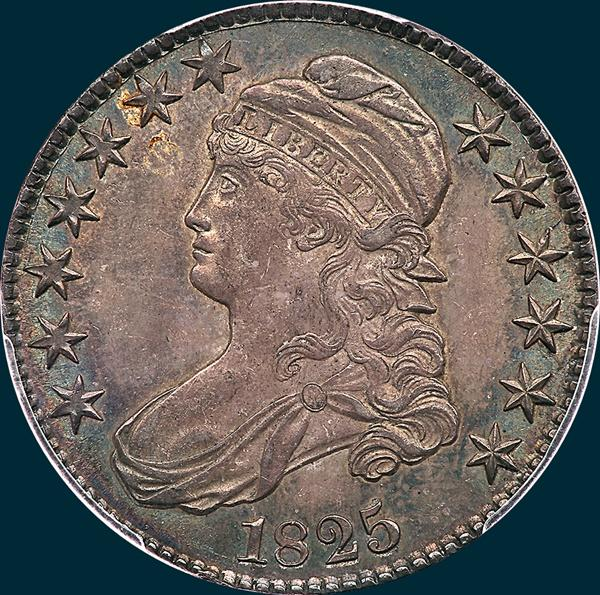 1825, O-107 capped bust half dollar