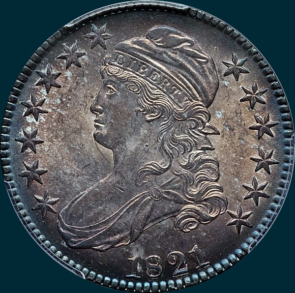 1821, O-103, Capped Bust, Half Dollar