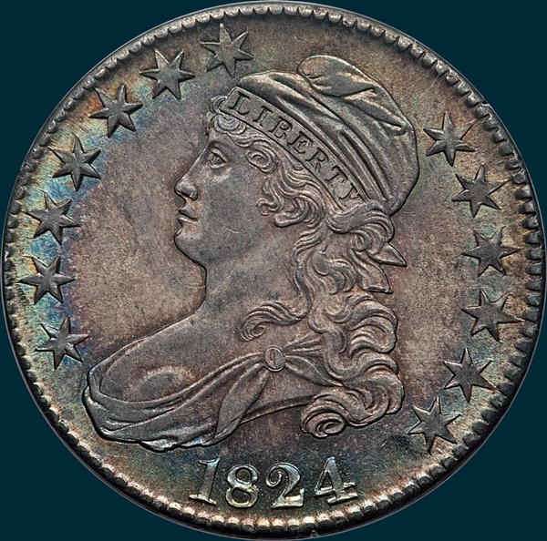 1824, O-105, Capped Bust, Half Dollar