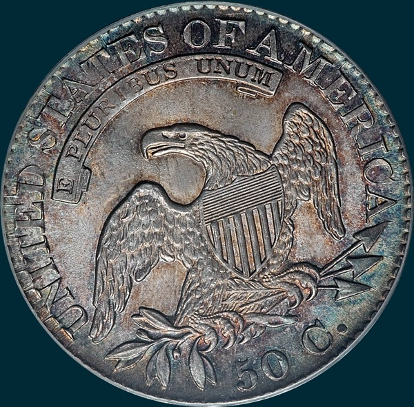 1825, O-114 capped bust half dollar