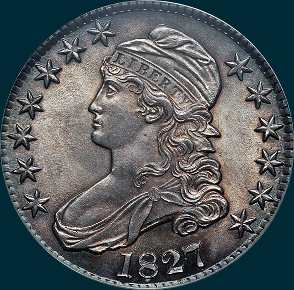 1827, o-110, capped bust, half dollar