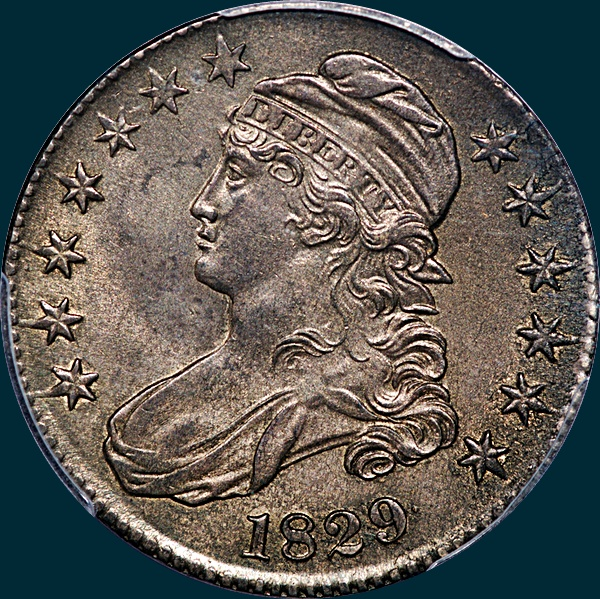 1829 O-118, capped bust half dollar