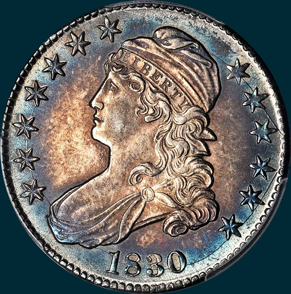 1830, O-107a, Small 0, Capped Bust, Half Dollar