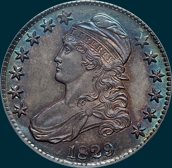 1829, O-105, Capped Bust, Half Dollar