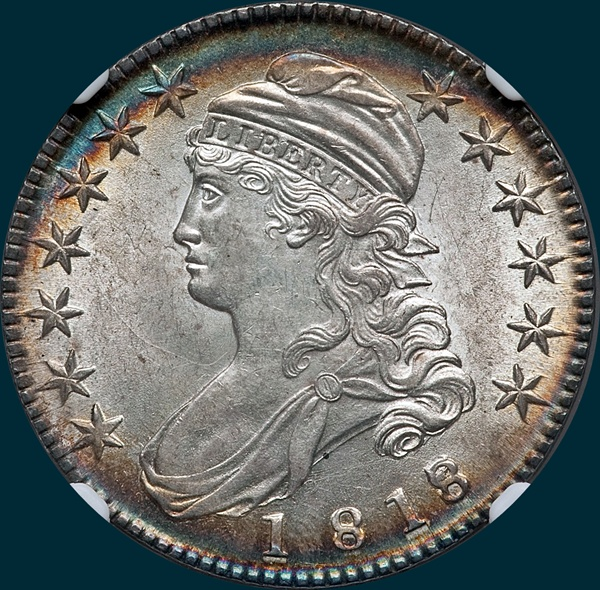 1818, O-102a, 8 over 7, Small 8, Capped Bust, Half Dollar