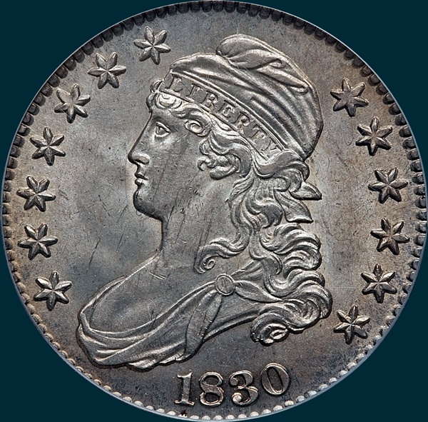 1830 O-116, small 0, capped bust half dollar