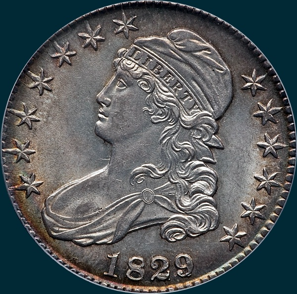 1829, 29 over 27, O-102, Capped Bust, Half Dollar