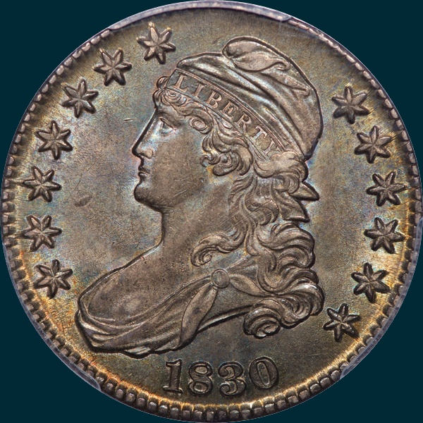 1830, O-119, Medium 0, Capped Bust, Half Dollar