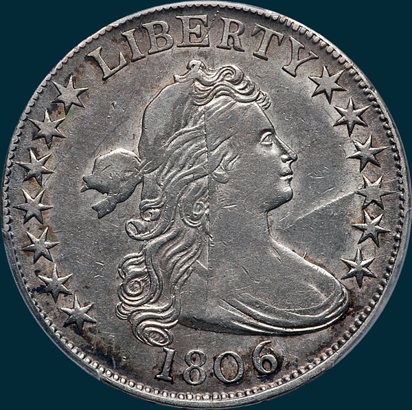 1806, 6 over inverted 6, 6/9, O-112, Draped Bust, Half Dollar