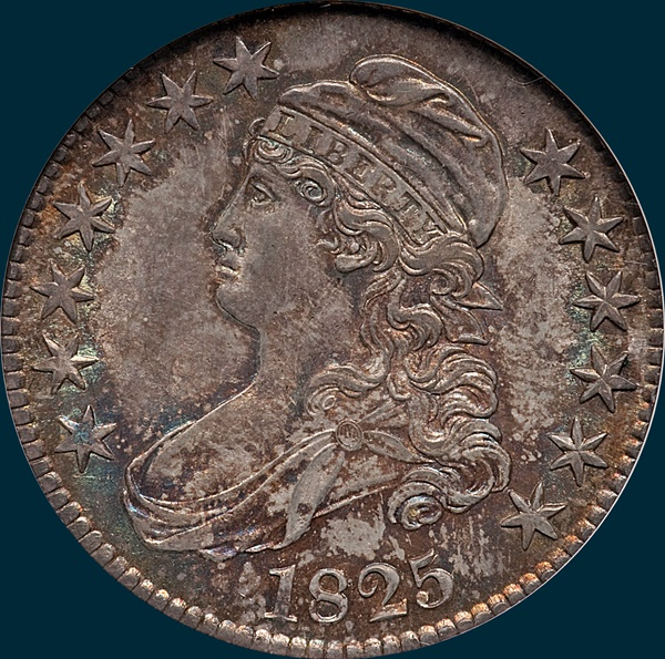 1825, O-106, capped bust half, dollar