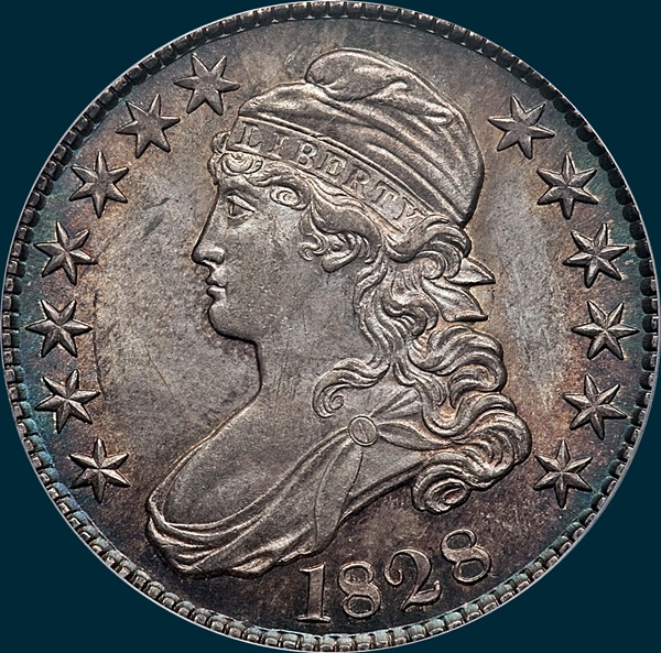 1828 O-103, curl base no knob 2, capped bust half dollar