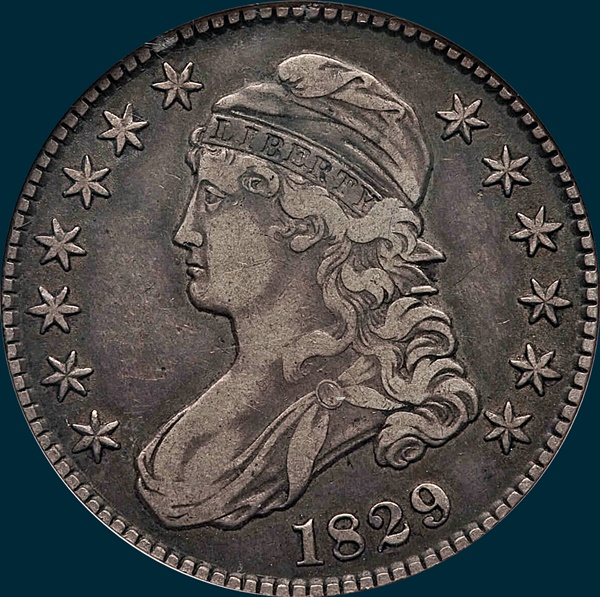 1829 O-113, capped bust half dollar