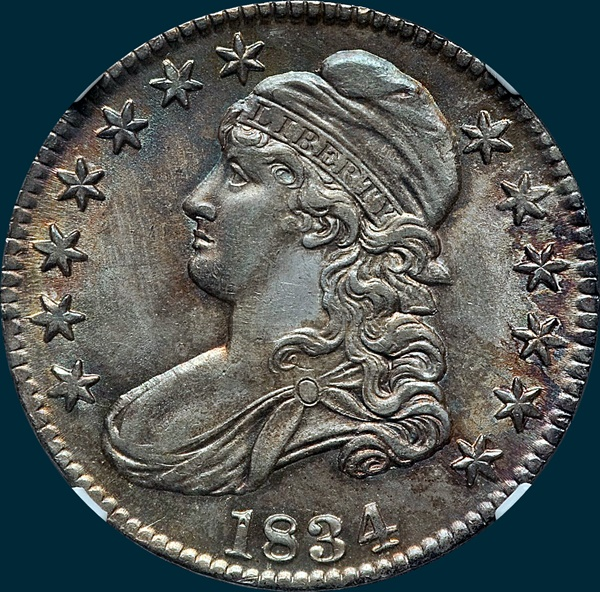 1834, O-101, Large Date, Large Letters, Capped Bust, Half Dollar