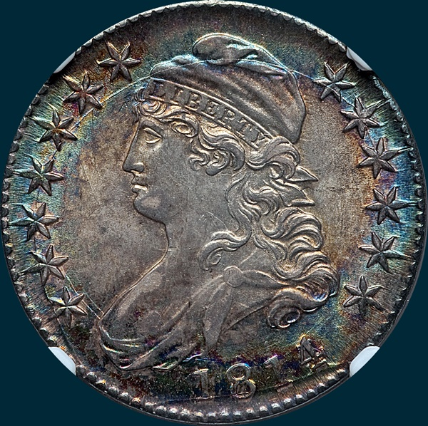 1814, O-101a, 4 over 3, Capped Bust, Half Dollar