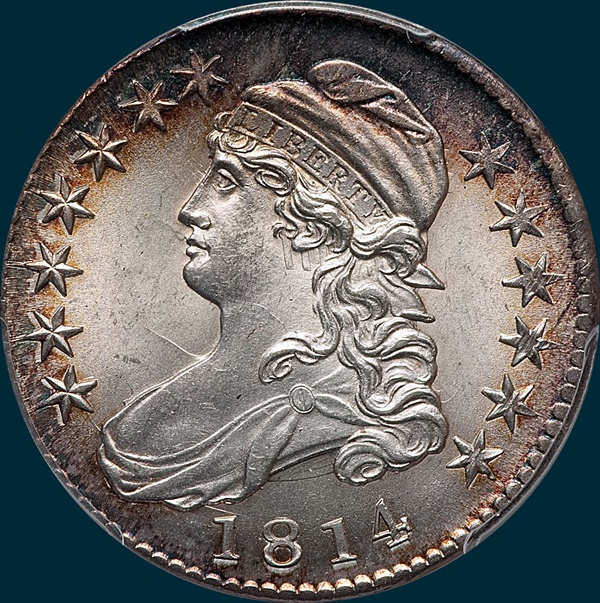 1814 O-105, Capped bust half dollar